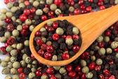 Pimenta, tempero a mistura em uma colher de pau — Foto Stock