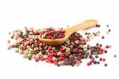 Pepper seasoning mix in wooden spoon  — Stock Photo