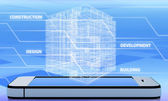 Wireframe of office building on the phone — Stock Photo