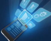 Mobile phone and icons image — Stock Photo