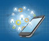 Group network for successful business in a smartphone — Stock Photo