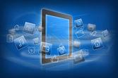Rotating icons around tablet — Stock Photo