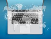 Central de atendimento de ícones notebook aberto no mapa do mundo. — Fotografia Stock