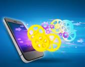 Flying gears and arrows of the mobile phone screen. — Stock Photo