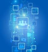 Set of icons in an abstract visualization on a blue background. — Stock Photo