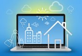 Illustration home, skyscraper and people walking on background of a laptop in the background. — Stock Photo