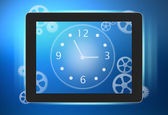 Tablet with a clock and gears on the screen. — 图库照片
