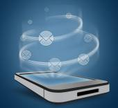 Round icons mail orbiting the planet over phone — Stock Photo