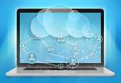 Laptop and cloud storage with a team of people. — Stock Photo