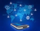 Mobile phone and icons people teamwork on world map. — Stock Photo