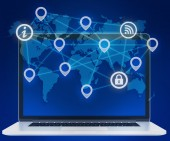 Icons of locations in a network. laptop and world map. — Stock Photo