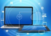 Laptop and tablet with icons networked wi-fi. — Stock Photo