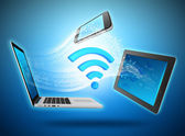Computing devices connected to the network by wi-fi. — Stockfoto