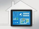 Tablet with icons on screen and surrounded the house. — Stock Photo