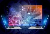 Abstract background screen with icons inside and laptop computers. — Stock Photo
