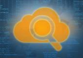 Velký oblak ikonu s lupou na abstraktní pozadí počítačového kódu. — Stock fotografie