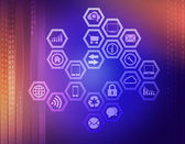 Icons prisoner hexagons on an abstract background. — Stock Photo