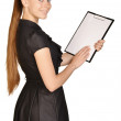 Beautiful girl holding a clip board in his hands. — Stock Photo #61766273