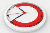 Clock with marked border red time — Stock Photo