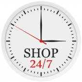 Clock without numbers marked shop is open 24 hours a week — Stock Photo