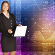 Business woman holds out her hand to sign a clip board — Stock Photo #67428051