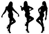 Vector silhouettes of girls in three positions — Stock Vector