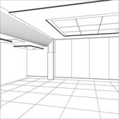 Wire-frame office room. EPS 10 vector format — Vettoriale Stock