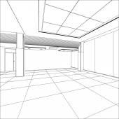 Outline office room. EPS 10 vector format — Stock Vector