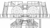 Wire-frame Oil and Gas industrial equipment. Tracing illustration of 3d. EPS 10 vector format — ストックベクタ