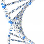 Close up Dna double helix molecules and chromosomes — Stock Photo