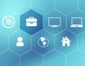 Background of the icons enclosed in hexagons — Stock Photo