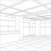 Interior office outlined. Tracing illustration of 3d — Stockvektor