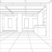 Interior office outlined. Tracing illustration of 3d — Vector de stock
