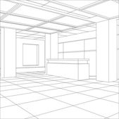 Interior office outlined. Tracing illustration of 3d — Stock vektor