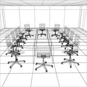 Interior office meeting room. Tracing illustration of 3d — Stock Vector
