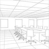 Sala riunioni Ufficio interno. Illustrazione di tracciatura di 3d — Vettoriale Stock