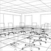 Interior office meeting room. Tracing illustration of 3d — Wektor stockowy