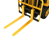 View close-up on a forklift truck cargo — Stock Photo