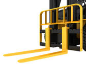 View close-up forklift truck cargo isolated on white background — Stock Photo
