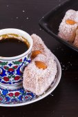 Turkish Delights with Coffee Cup — Stock Photo