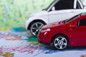 Red Toy Car for Travel Concept — Stok fotoğraf
