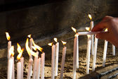 Flaming Candles for Prayer — 图库照片