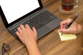 Business Woman Working on Office Table — Stockfoto