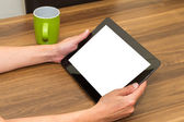 Hand Holding Tablet with Blank Screen — Stock Photo