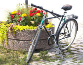 Bicycle from flower beds — Stock Photo
