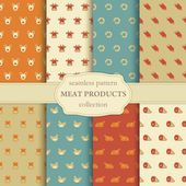 Seamless pattern on a theme of meat products — Stock Vector