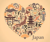 Japan icons in the form of a heart — Stock Vector