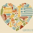 Symbols of Greece in the form of heart — Stock Vector #74614633