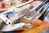 Aristic paint and brushes — Stock Photo