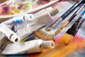 Aristic barvy a štětce — Stock fotografie